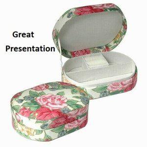 NWT fabric jewelry Box pastel flowers